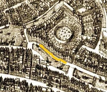 De Nieuwe Rijn met in geel het gedeelte waar de brouwerij van Jan Reyersz stond (op een kaart van Pieter Bast uit 1600).