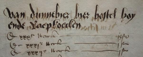 Een jaarverslag uit de zestiende eeuw van het Leidse weeshuis, met de verantwoording voor de aankoop van dunnebier, bier en bostel.