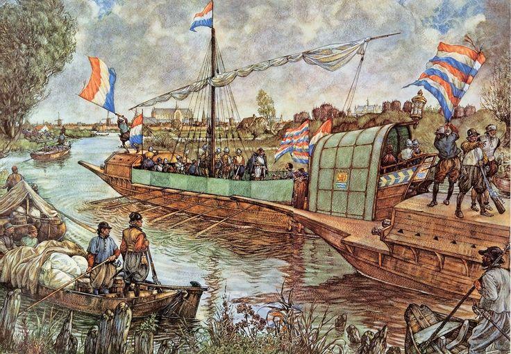 De Geuzenvloot nadert Leiden.