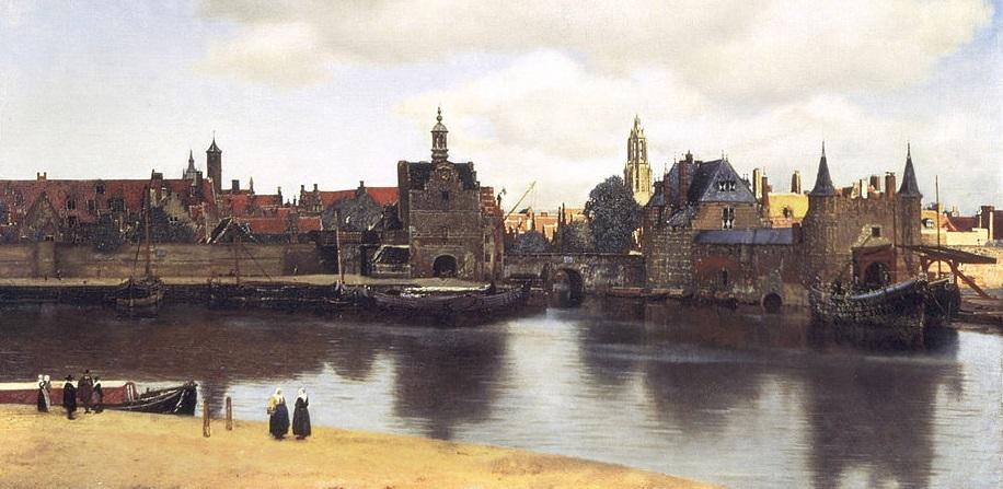 Gezicht op bierstad Delft (detail schilderij Vermeer).