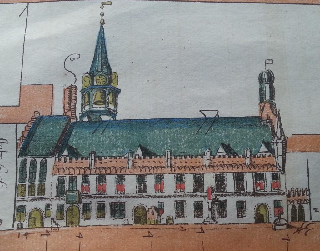 Het Leidse stadhuis rond 1580.