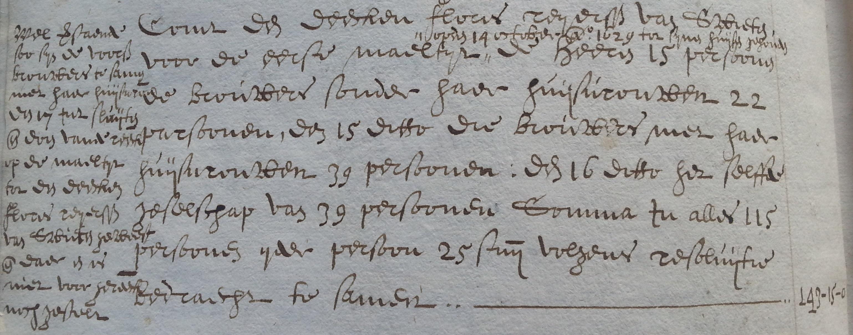 Rekening van een gildemaaltijd circa 1630.